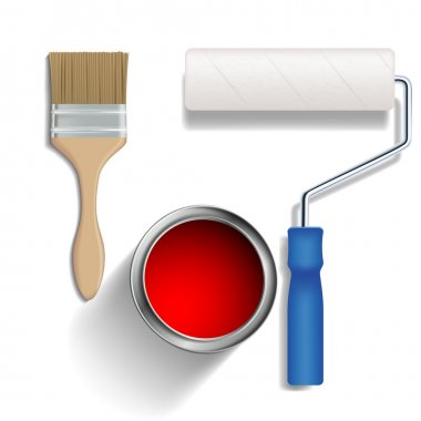 Paint roller, brush and a bucket of paint.