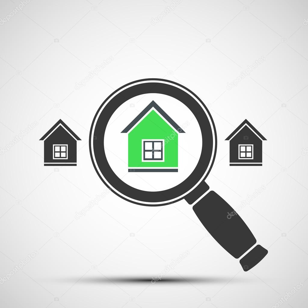 Vector image of a magnifying glass and Real Estate