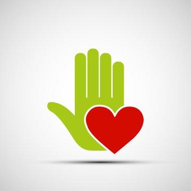 Logo of human hand holding heart.