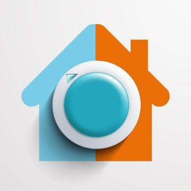 Round thermostat for temperature control.