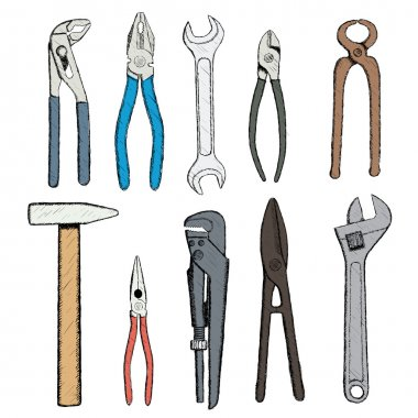 Set of industrial tools. Doodle image