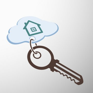 Key with keychain. house on a cloud