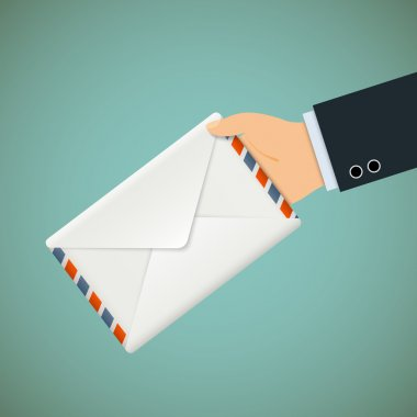 Postman. Hand with envelope