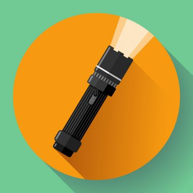 Flashlight Vector icon. Flat design style