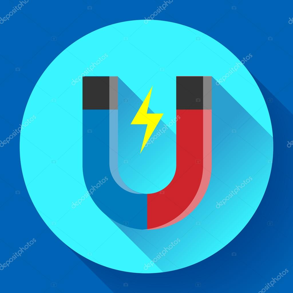 Vector icon horseshoe magnet. Symbol magnetism attraction. Flat ...