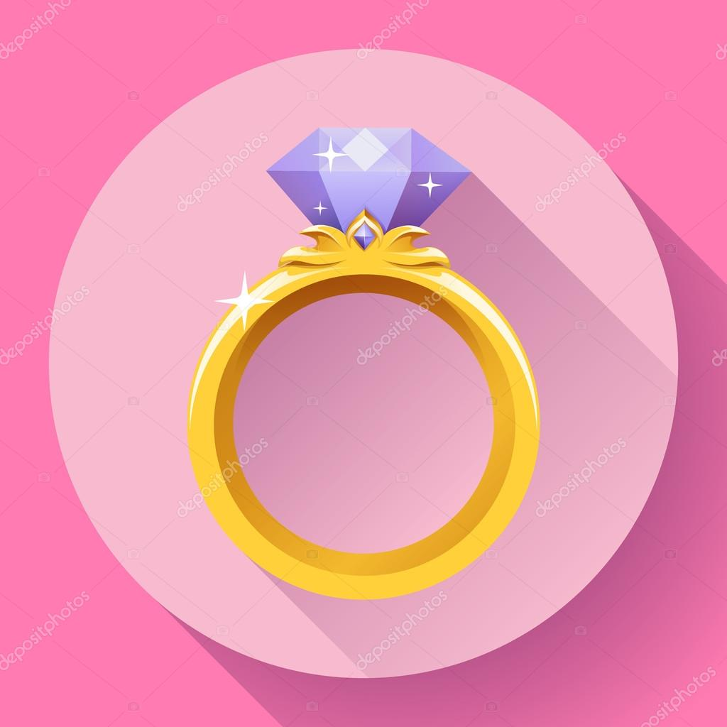 Diamond gold ring icon. Flat 2.0 vector design style with long ...