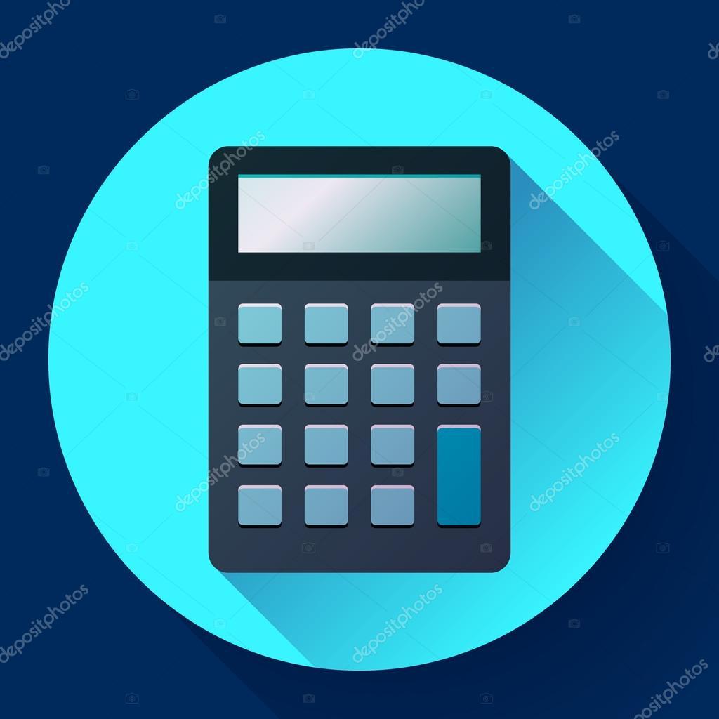 Taschenrechner-Symbol flach Stil isoliert. elektronische Berechnung ...