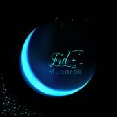 Eid mubarak pozadí s lesklou měsíc a hvězdy