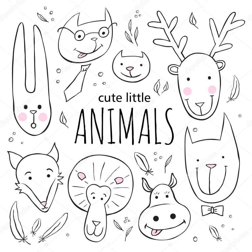 かわいい動物顔のセットですベクトルは落書きイラストをスケッチし