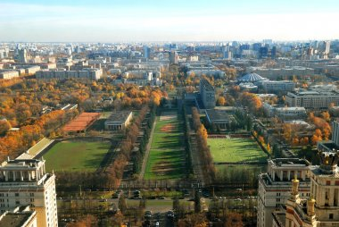 View from the height of Moscow in autumn day