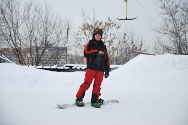 Skiers and snowboarders at a ski resort in Moscow