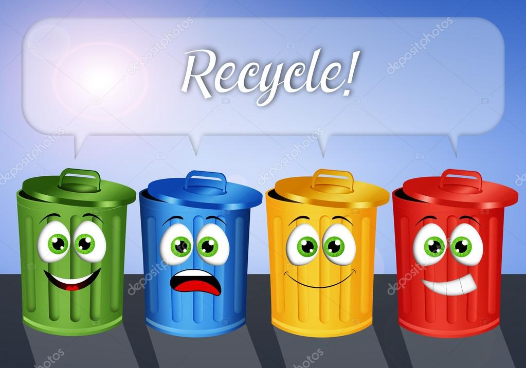 Dibujos sobre reciclaje de basura contenedores de basura para reciclaje foto de stock - Contenedores de basura para reciclaje ...