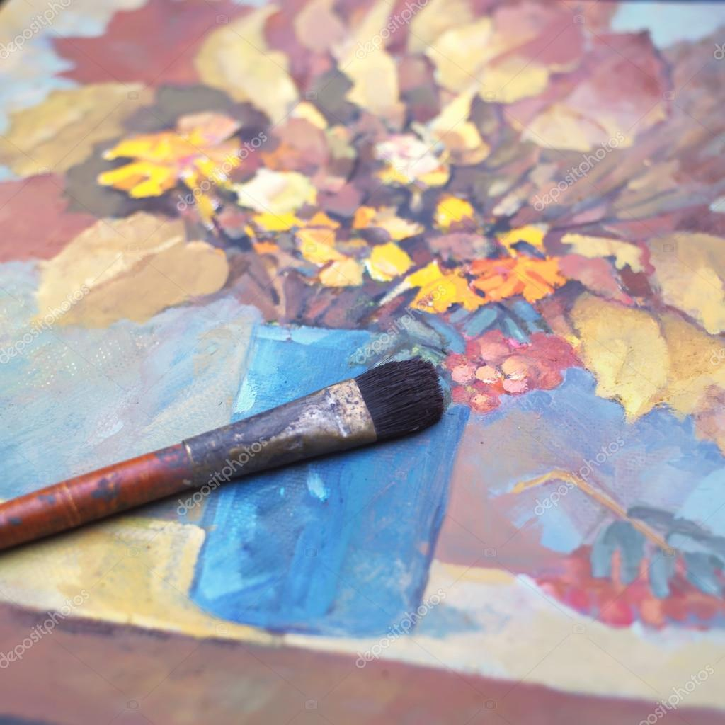 Autumn Still Life And Brush