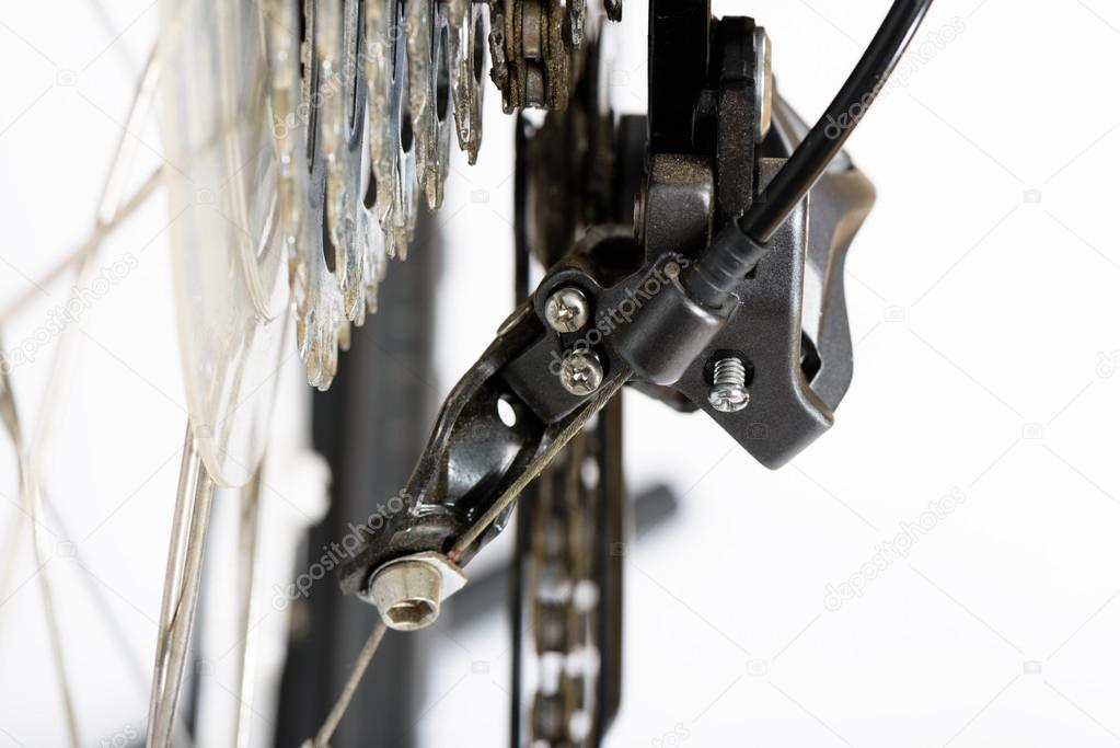 Closeup of rear derailleur adjusting screws of mountain bike
