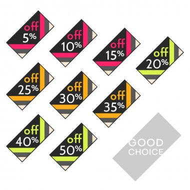 Set of editable discount labels with percent symbols. Geometric simplicity - universal design for web shops, printed stickers, tags, price labels, badges, coupons, flyers etc. icon