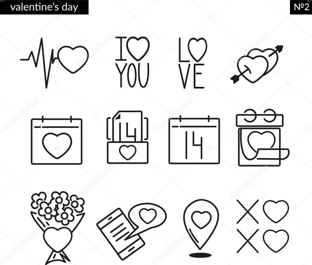 Simple Set of valentines day icon set line icons icon