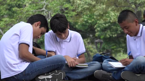 Teen Students Studying And Writing