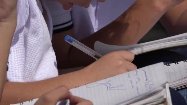 School Kids Writing In Notebooks