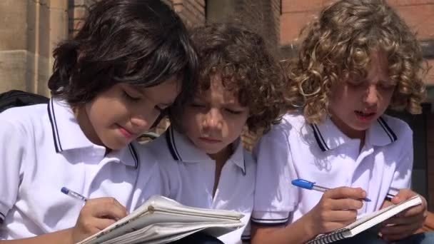 School Kids Writing And Studying