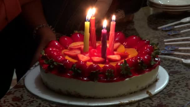 Birthday Cakes Candles Celebrations Stock Footage