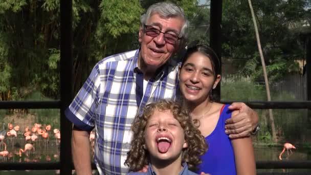 Grandfather and Grandchildren Photobomb