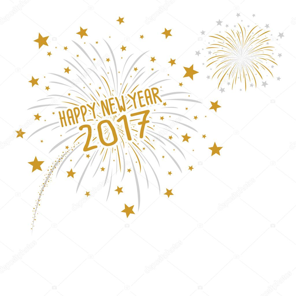 firework with happy new year 2017 on white background stock vector