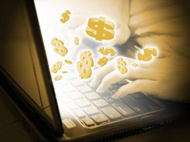 Asian woman making money online