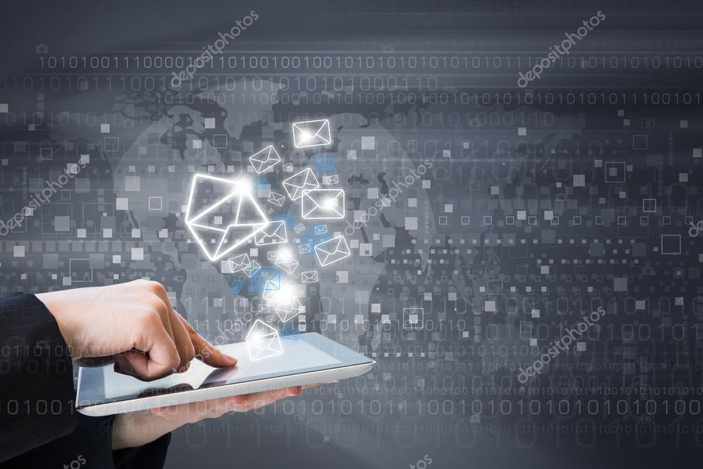 Business woman are sending email marketing by digital tablet