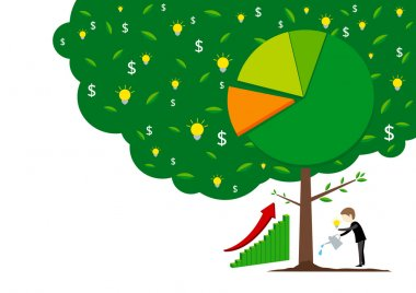 Business concepts of businessman watering tree