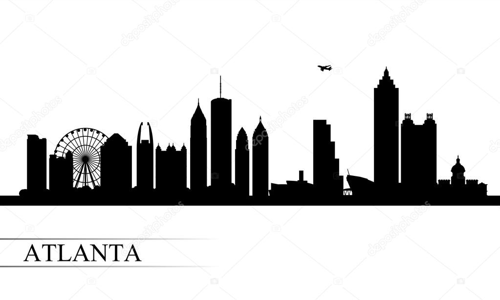 atlanta city skyline silhouette background stock vector rh depositphotos com atlanta city skyline vector