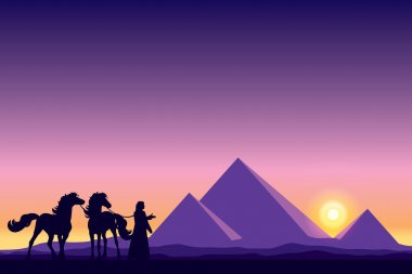 Egypt Great Pyramids with Bedouin and horses silhouettes on suns