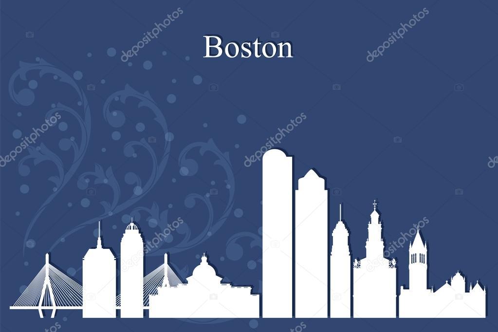 Boston city skyline silhouette on blue background