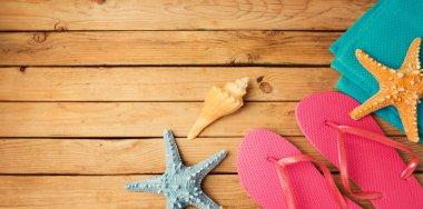 Flip flops with beach items