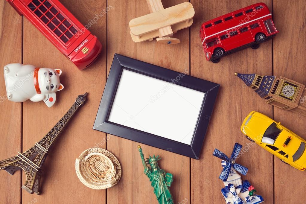 frame mock up template and souvenirs — Stock Photo © maglara #106719286