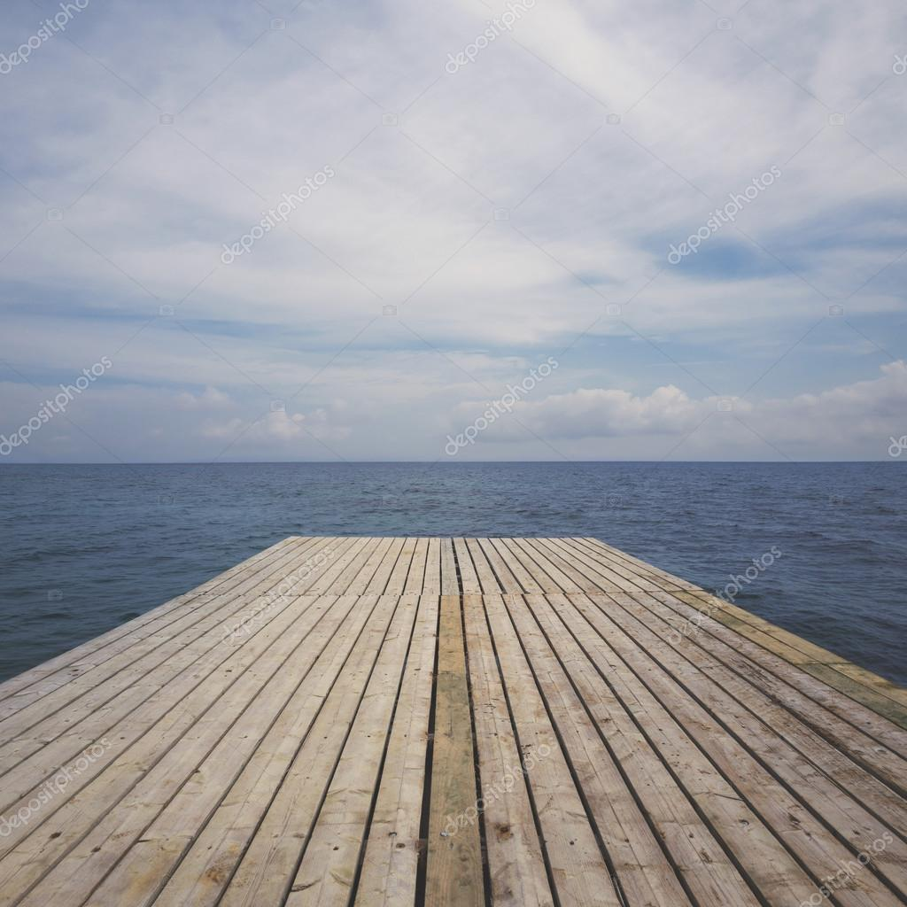 Wooden deck terrace over sea