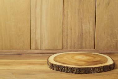 Empty wooden table with tree log