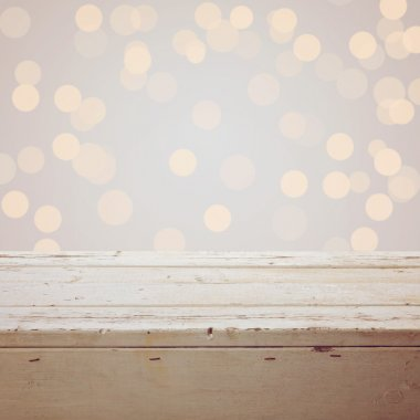 Christmas background with empty wooden table