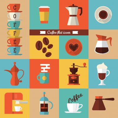 Modern icons for coffee shop
