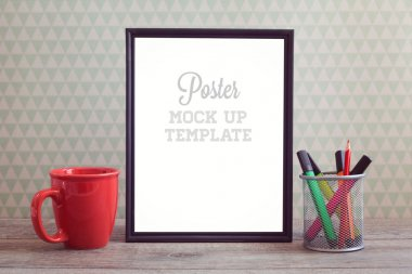Poster mock up template with cup