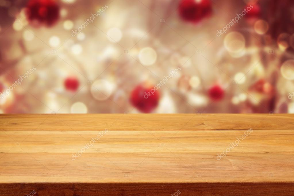 Table over Christmas bokeh background