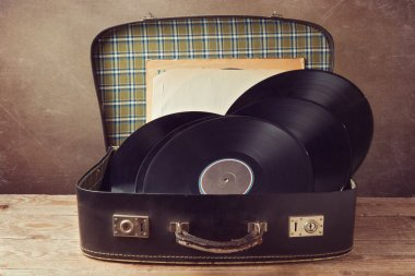Vintage suitcase with music records