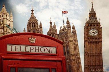 London landmark symbols collage