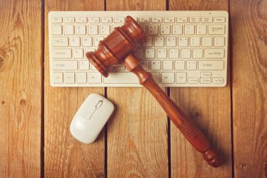Judge gavel and computer keyboard