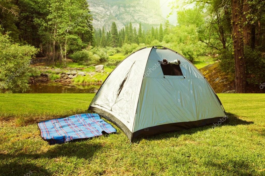Camping tent on grass