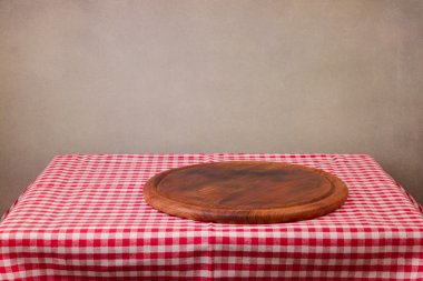 Wooden board on table