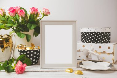 frame with glamour feminine objects