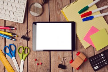 Tablet mock up template with school supplies