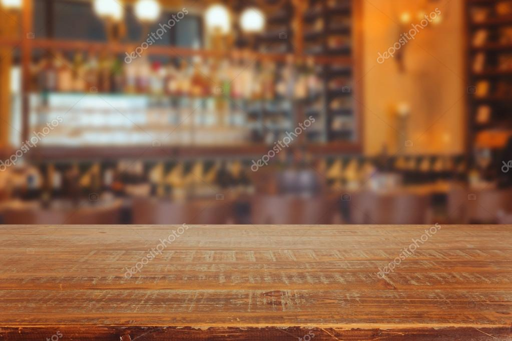 Bar interior with wooden table
