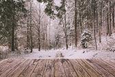 Fotografie Zimní pozadí s dřevěnou terasou