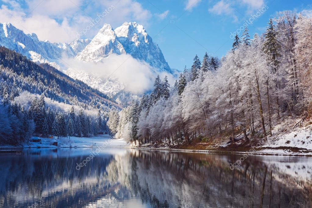 Winter landscape with lake